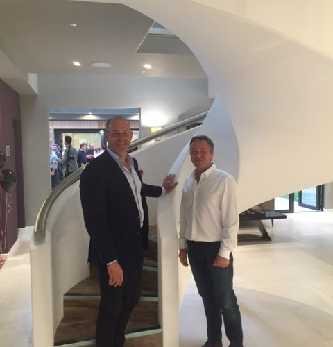 Phil Spencer admiring our GRG clad staircase.