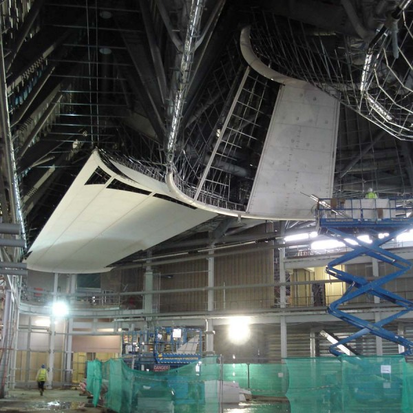 Shaped GRG being installed a